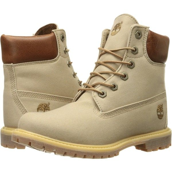 Timberland Women's 6 Inch Premium Fabric Boot, Tan Waxed Canvas, 7 M US