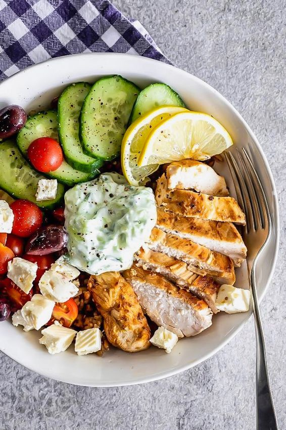 Easy Greek chicken grain bowl - Simply Delicious