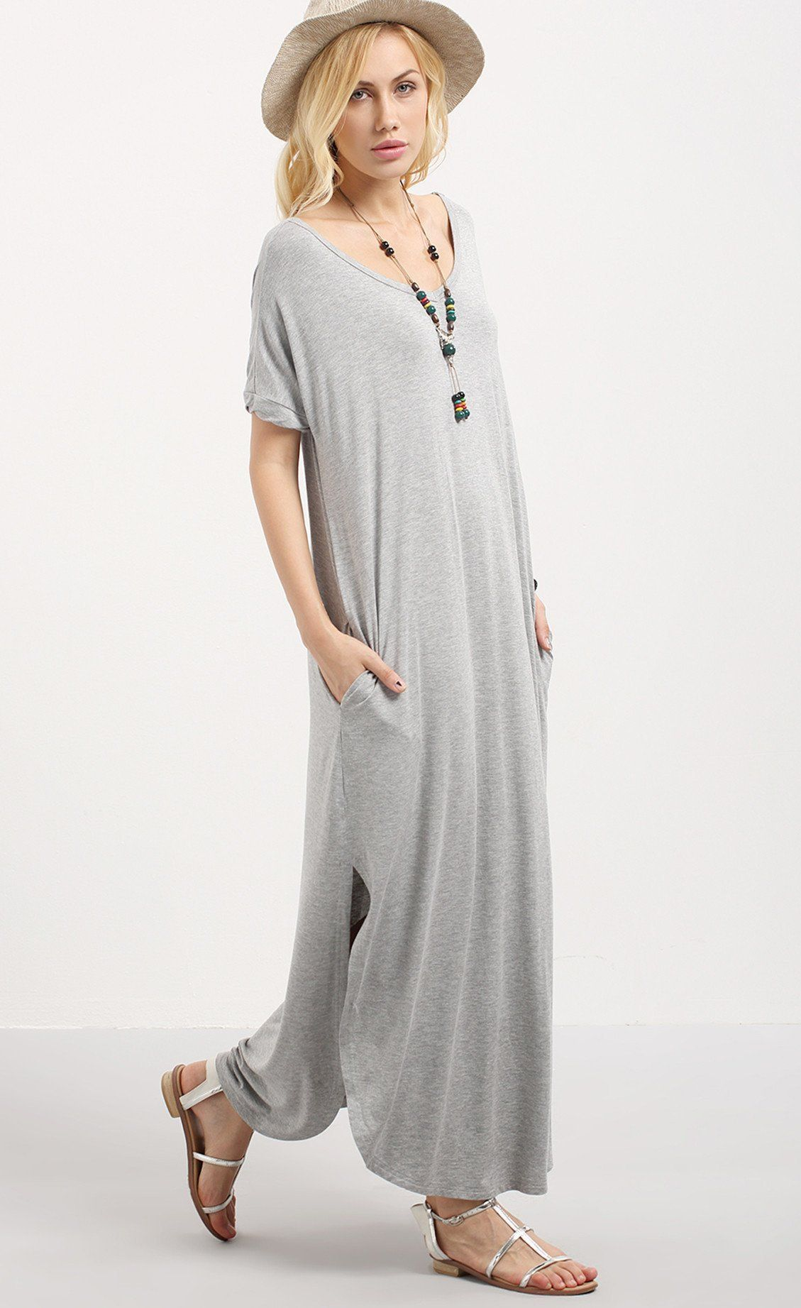 59f60bb4b823c Abigail Grey T-Shirt Maxi Dress | t-shirt dress | Dresses, Grey t ...