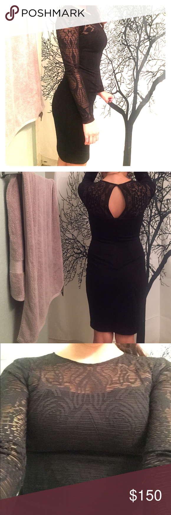 Black Lace Long Sleeve Dress Beautiful Black Laced Dress . Perfect for weddings or a fancy dinner. Extremely comfortable. The lace is exceptional . And you will definitely be the center of attention in this. Cache Dresses Long Sleeve