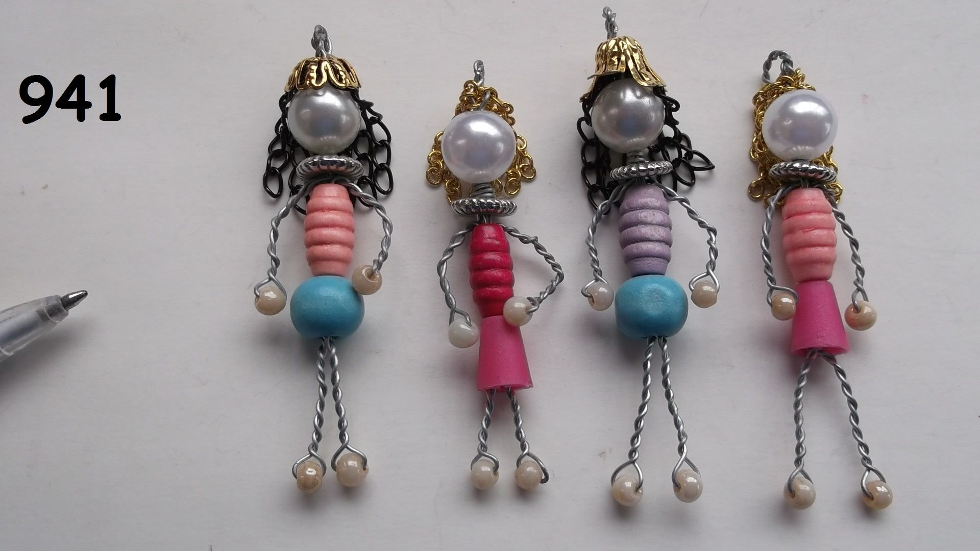 No.941 - four wire and bead people - Wire and Bead BeadBugs - Jill ...