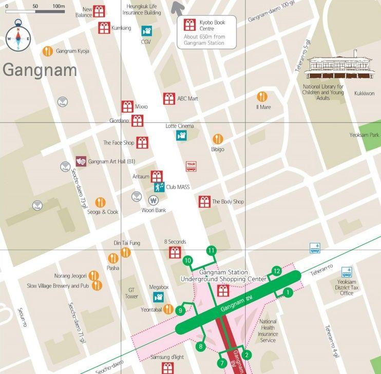 Gangnam shopping map Maps Pinterest Seoul South korea and City