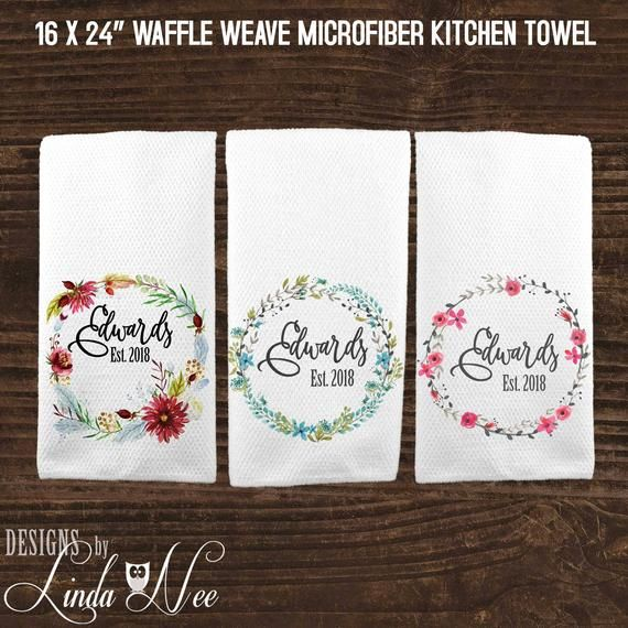 Embroidered Towels For Wedding Gift: Personalized Kitchen Towel, Custom Wedding Gift