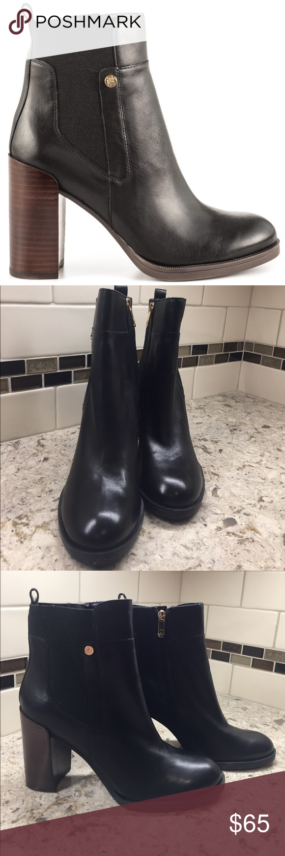 01813195f Tommy Hilfiger Britton booties New in box black leather with 4 inch stacked block  heel ankle