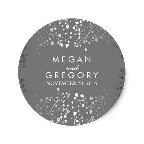 Silver and grey babys breath wedding classic round sticker round stickers wedding and weddings