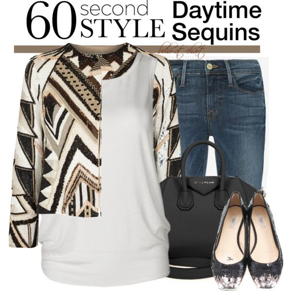 60 Second Style: Daytime Sequins by boho-at-heart on Polyvore featuring Alice + Olivia, Frame Denim, Prada and Givenchy