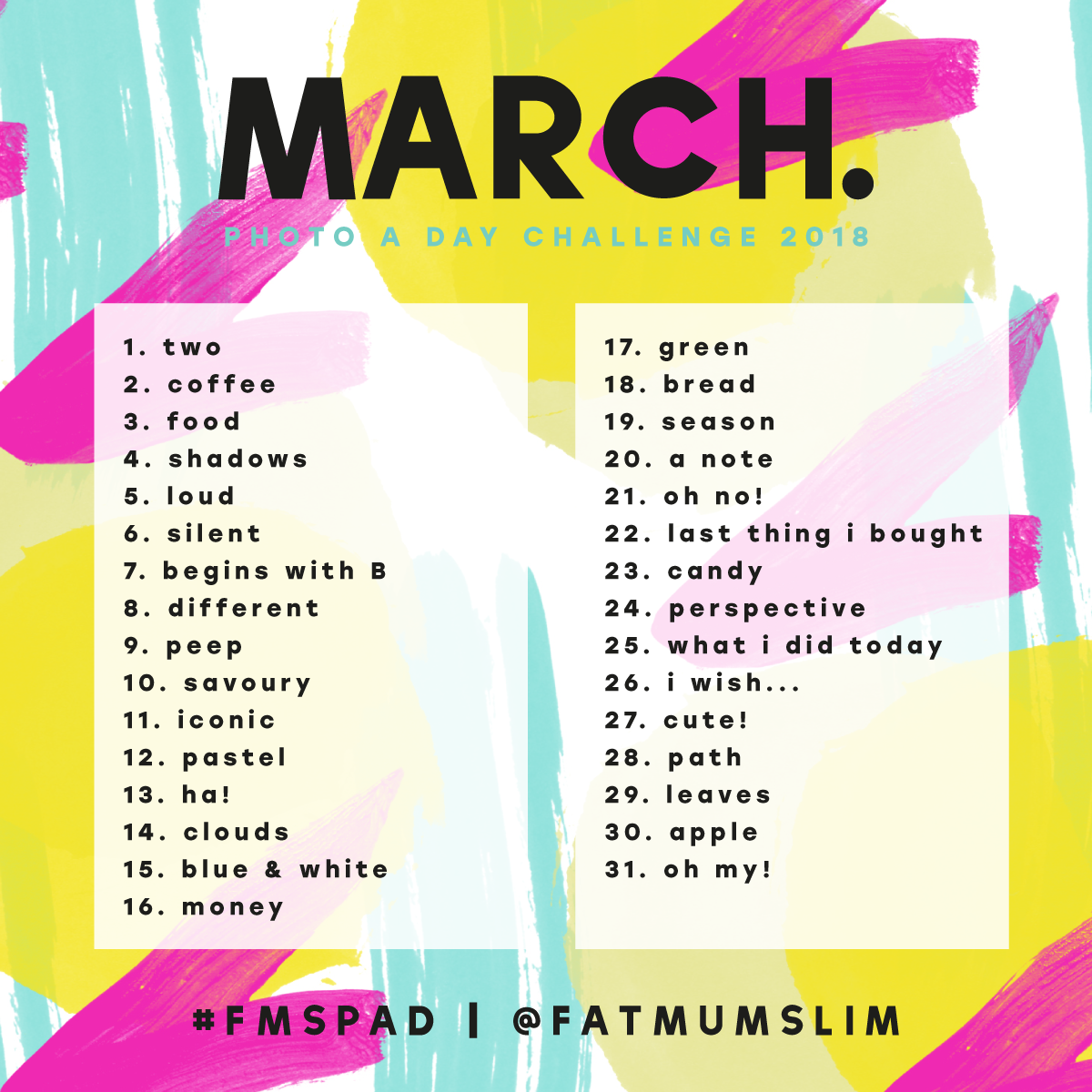 Just look at the list each day and take a photo using the prompt as  inspiration. So dccd27bd60b