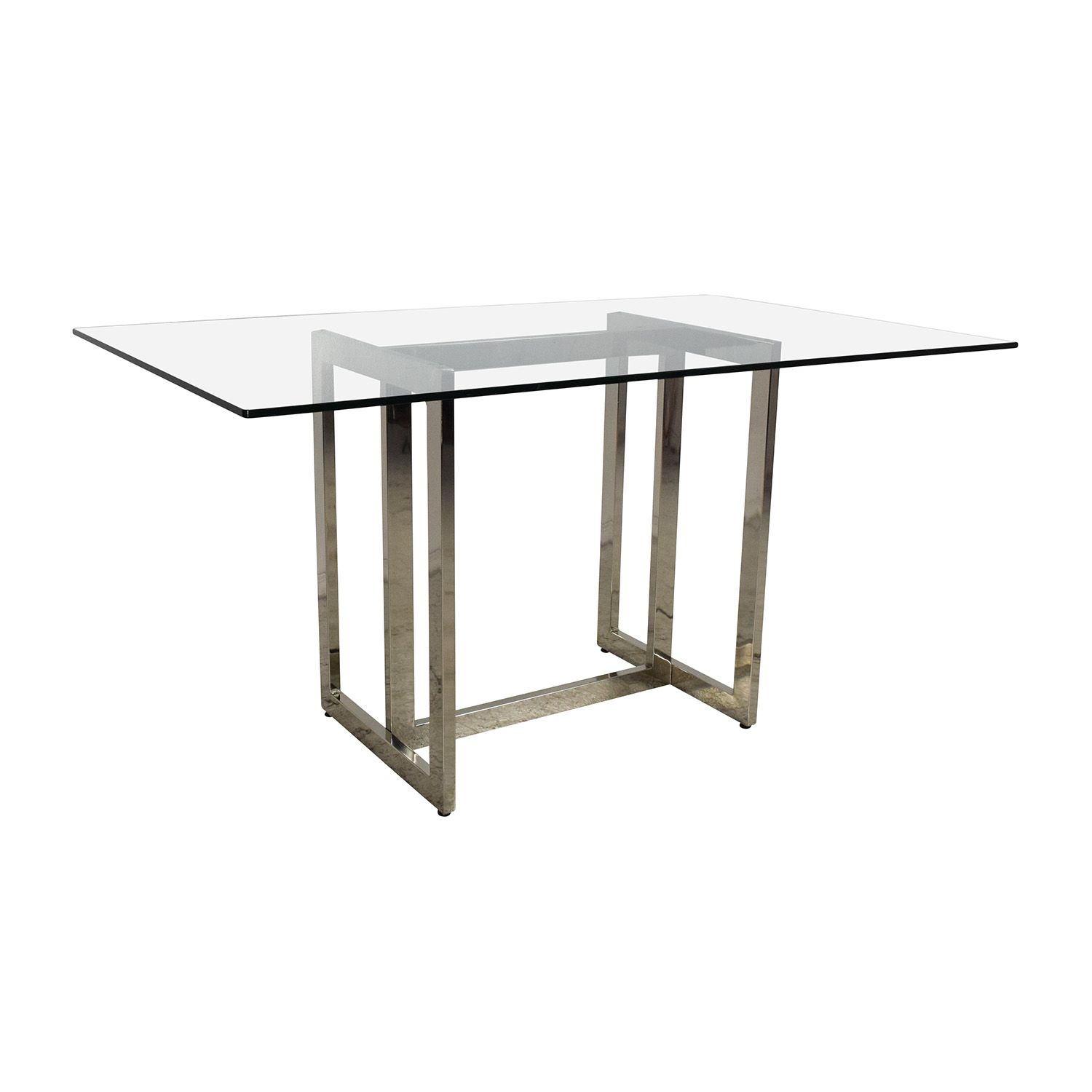 West Elm Hicks Glass Top Dining Table - West elm glass top dining table
