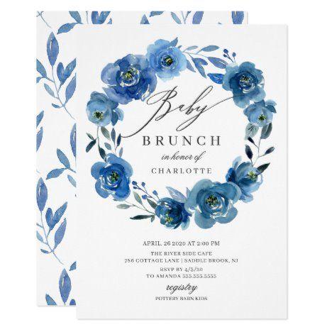 Watercolor Blue Flowers Baby Shower Brunch Invitation #UniqueGifts #BirthdayGiftsUnique #PersonalizeGifts #ShopCustomizables