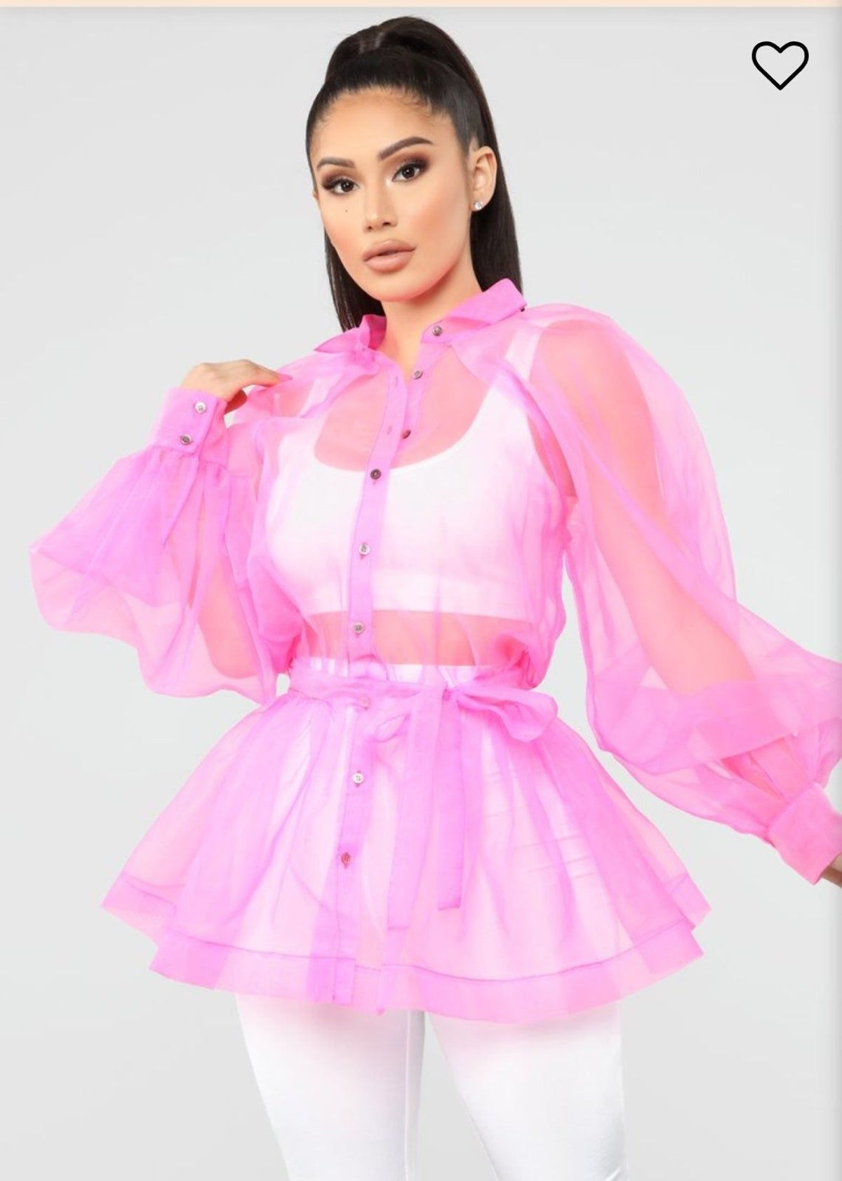 Bright Pink Fashion Nova Sheer Jacket in 2020 Fashion