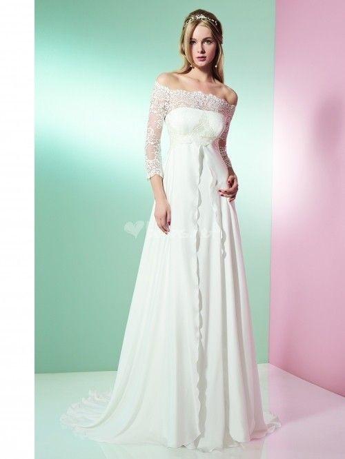 227cdea9d49d A-Line 3-4 Sleeve Off-The-Shoulder Lace Empire Chiffon Wedding