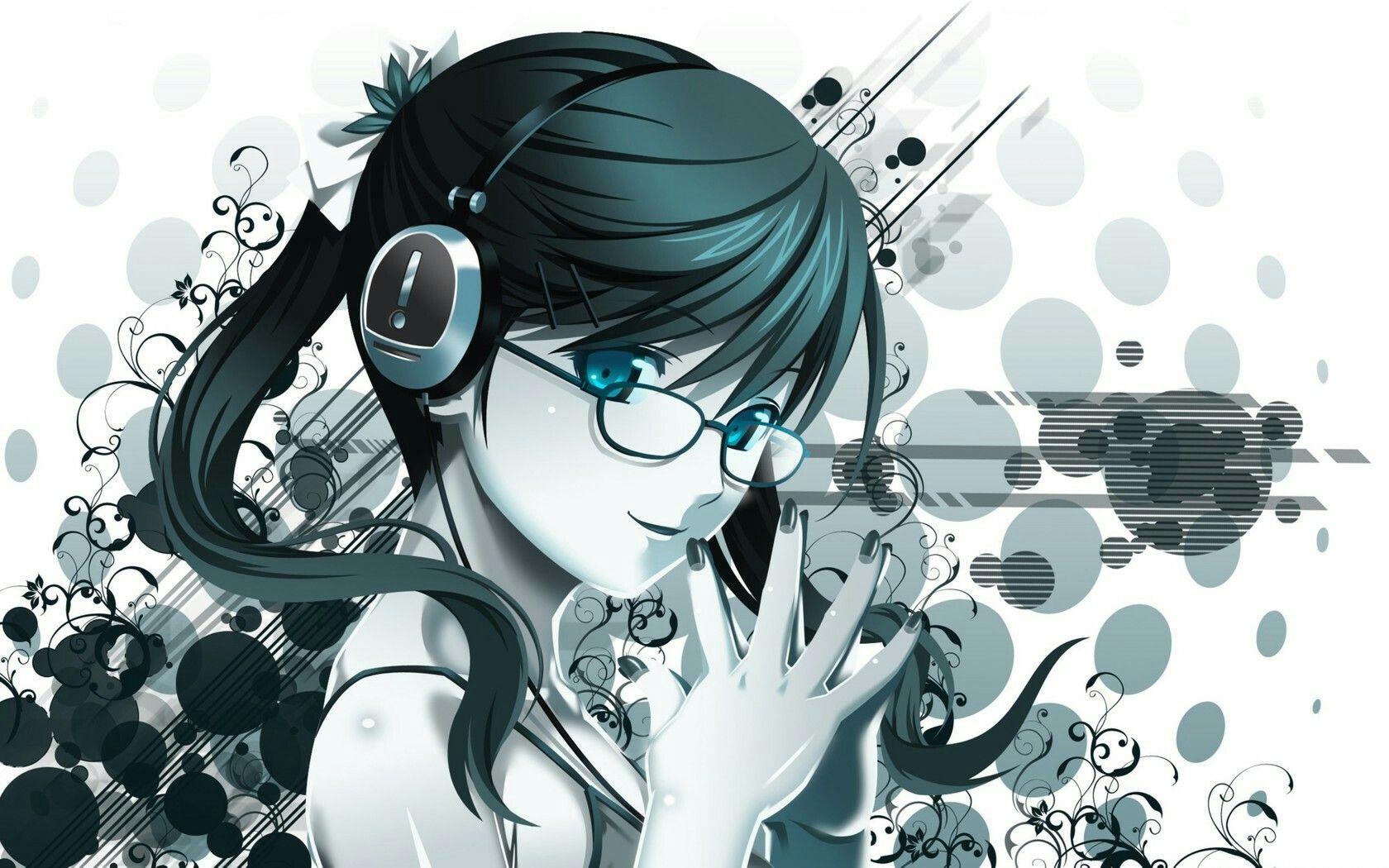 animegirl with glasses and headphones girl with glasses rh pinterest com