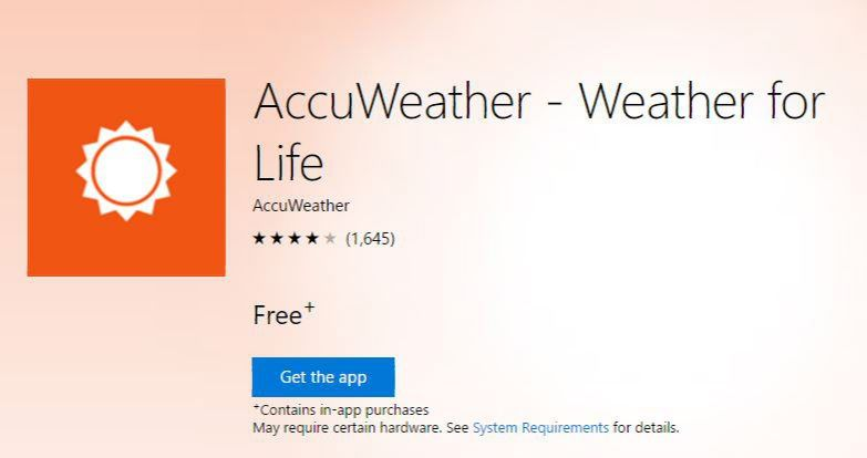 AccuWeather app is now available on Xbox One and HoloLens
