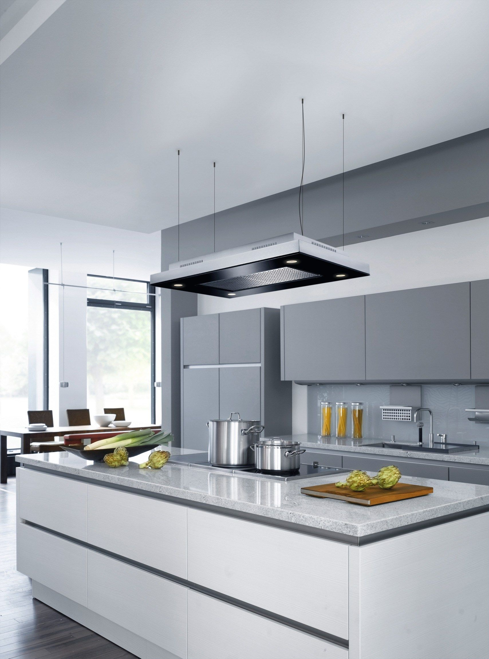 Ceiling Mounted Glass And Stainless Steel Cooker Hood Capa By