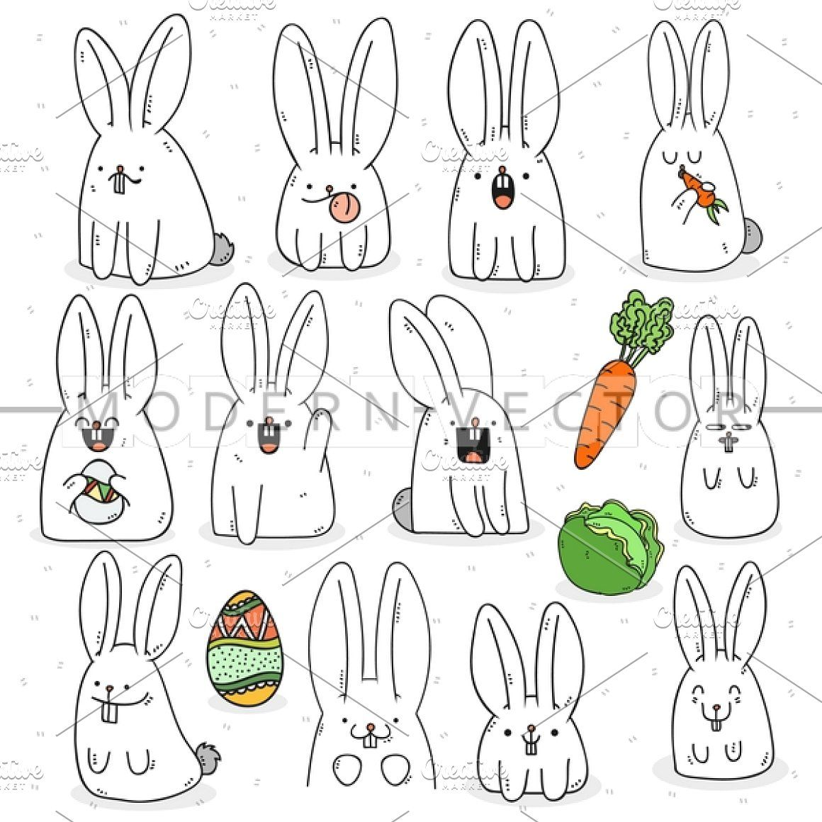 Set 12 Doodle Rabbit Emotions Animal Doodles Rabbit Drawing Doodles