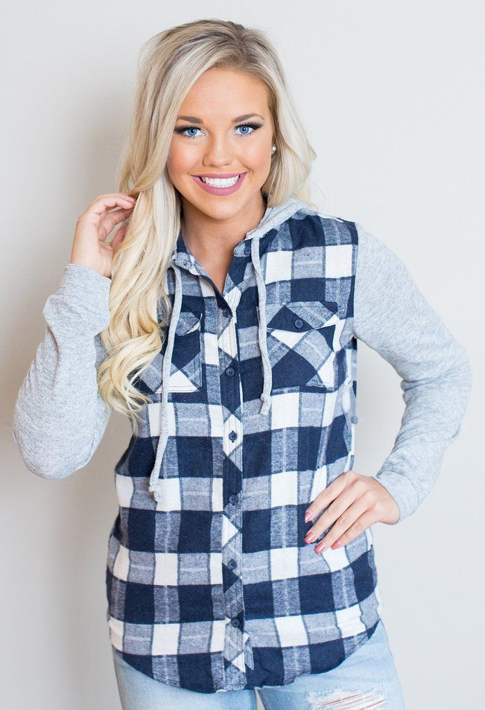 """This plaid top is a fall necessity! 95% Cotton, 5% Polyester Model is 5'4"""" size 4 in a small.    Measurements Length Bust   Small 26.5"""" 38""""   Medium 27"""" 40""""   Large 27.5"""" 42""""   X-Large 28"""" 44"""""""