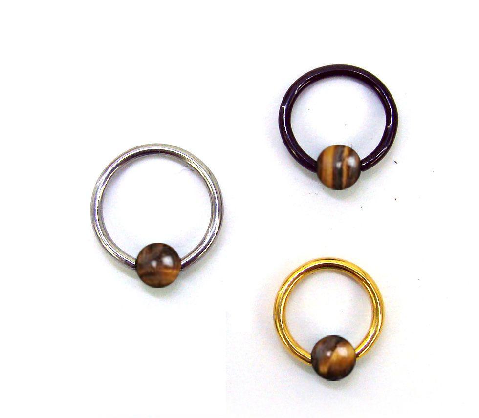 14g 16g Captive Ball Bead Ring Barbell Piercing Tiger Eye Stone Gold Steel  Brown  Palina