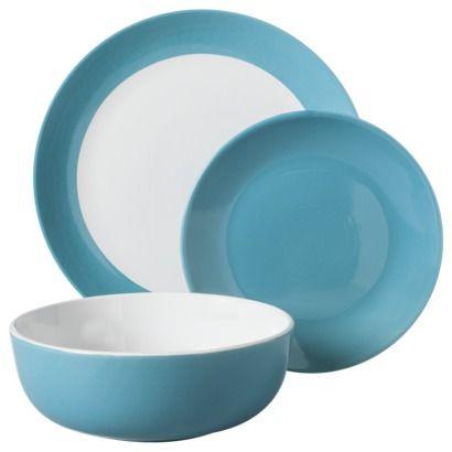 Room Essentials 12 Piece Stoneware Dinnerware Set Teal คร ว