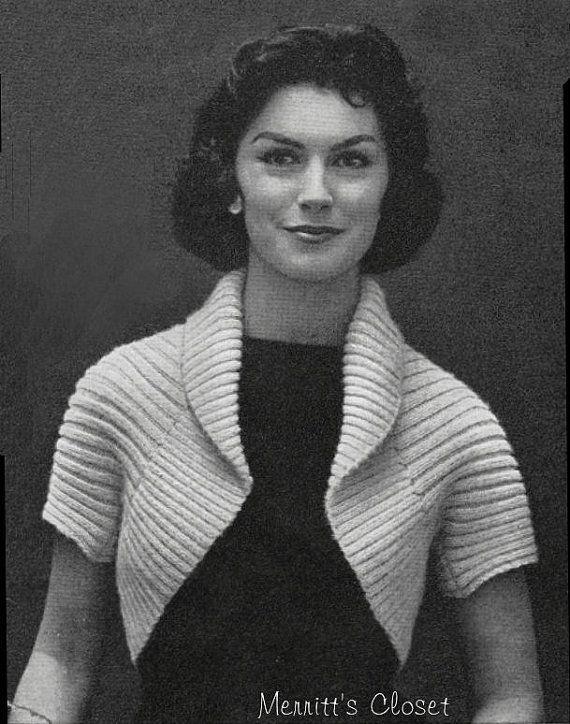 Simple Shrug Vintage Knitting Pattern INSTANT por MerrittsCloset ...