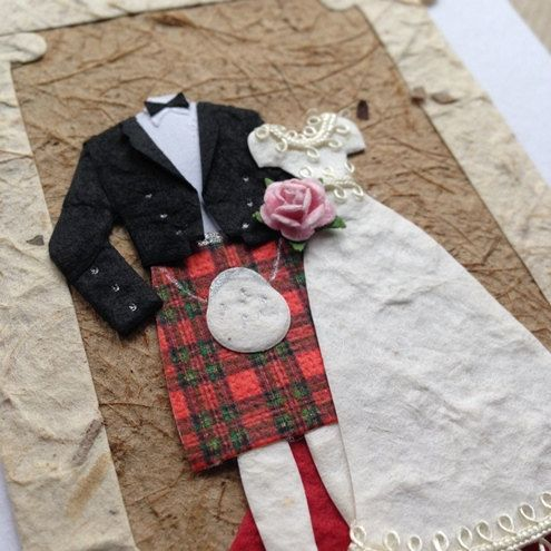 White card with black hand stamped Mr & Mrs and Mulberry paper Bride & Groom. Pretty, modern & romantic!    Kilted Groom.    Card comes with white envelope.    Inside Message: The inside has been left blank for your own personal message, but one can be added - just leave a note to seller.