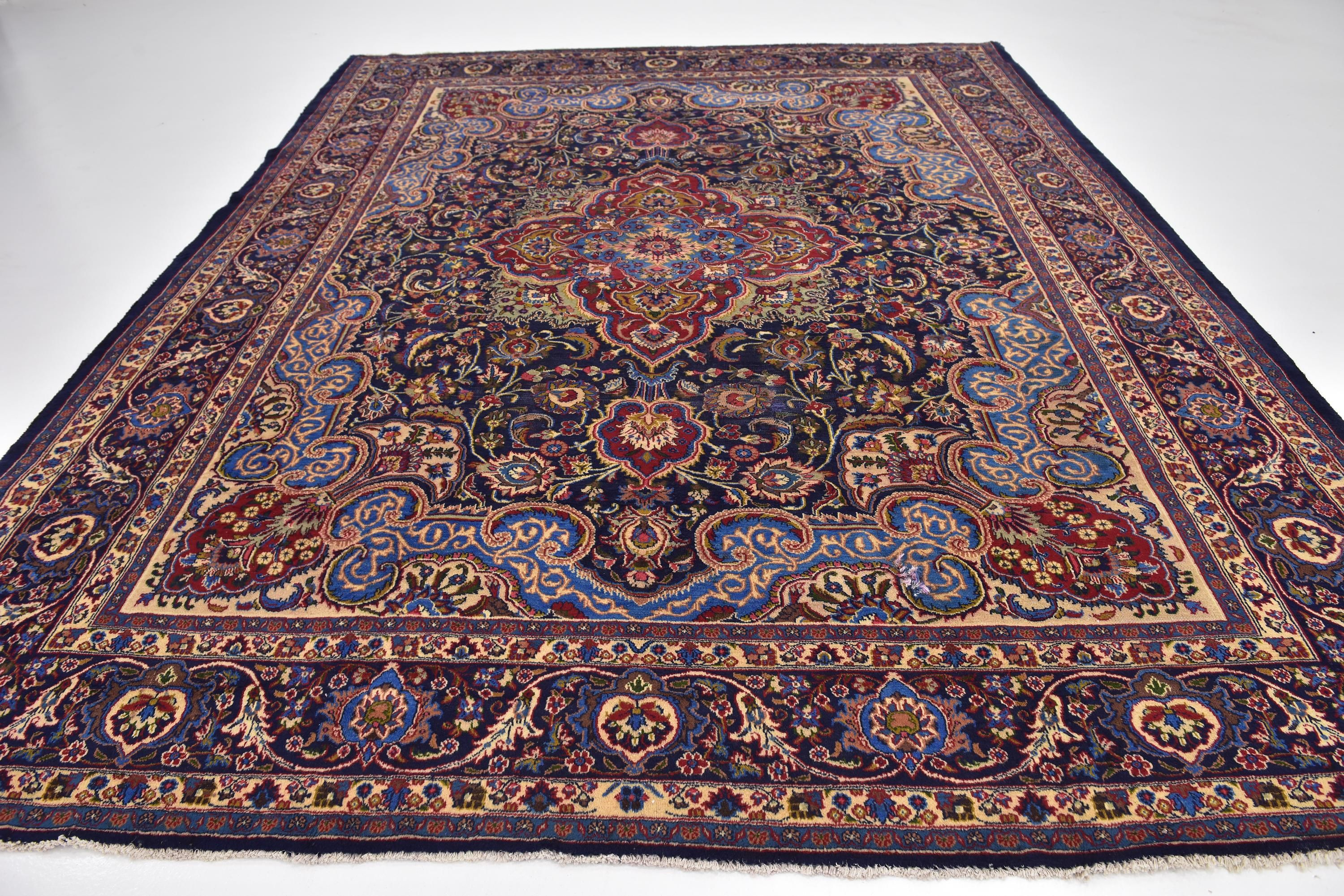 Navy Blue 9 8 X 12 6 Mashad Persian Rug Persian Rugs Esalerugs Persian Rug Colorful Rugs Rugs