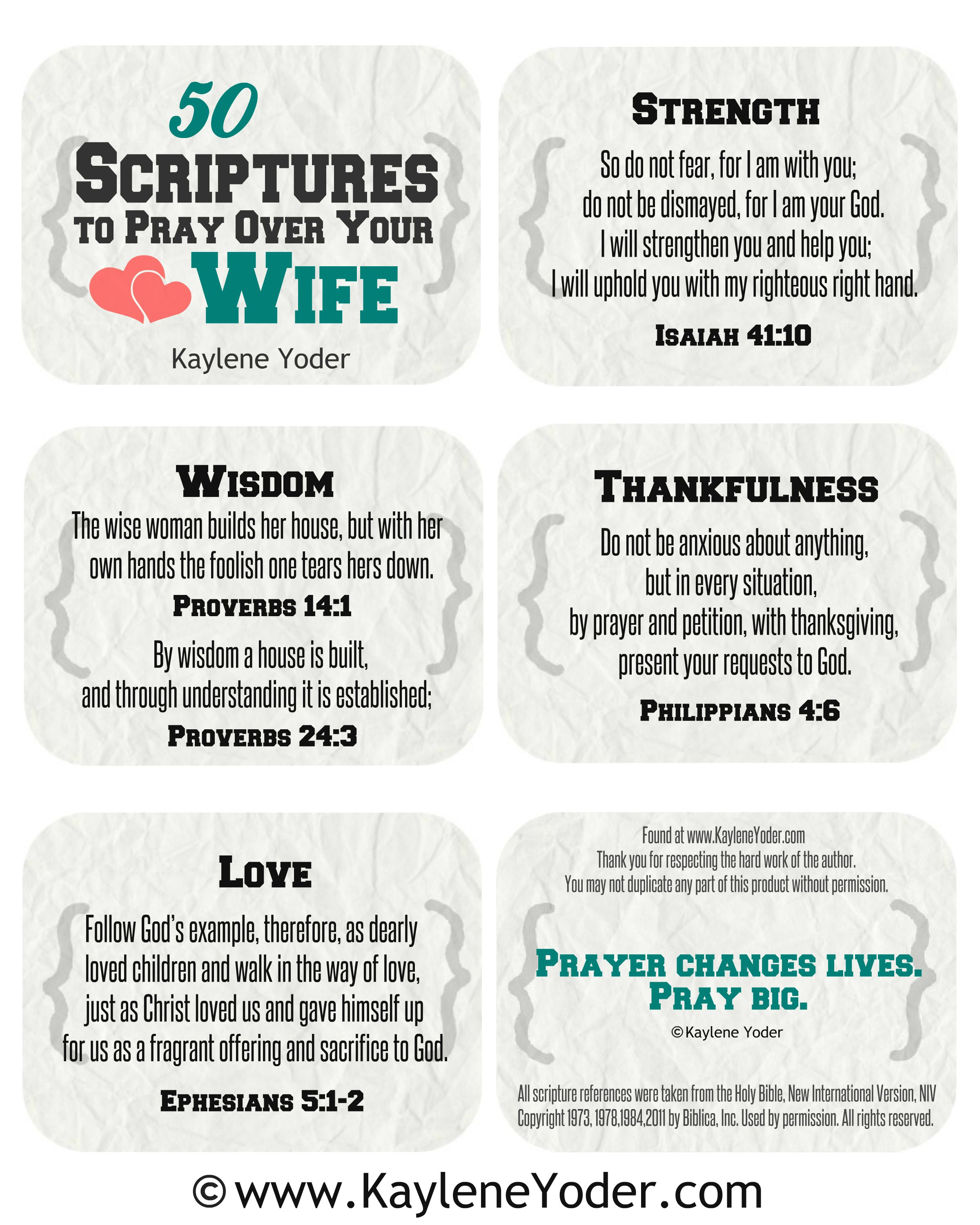 Scripture Prayer Cards for Husbands and Wives | PRAY