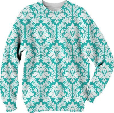 White on Turquoise Damask from Print All Over Me