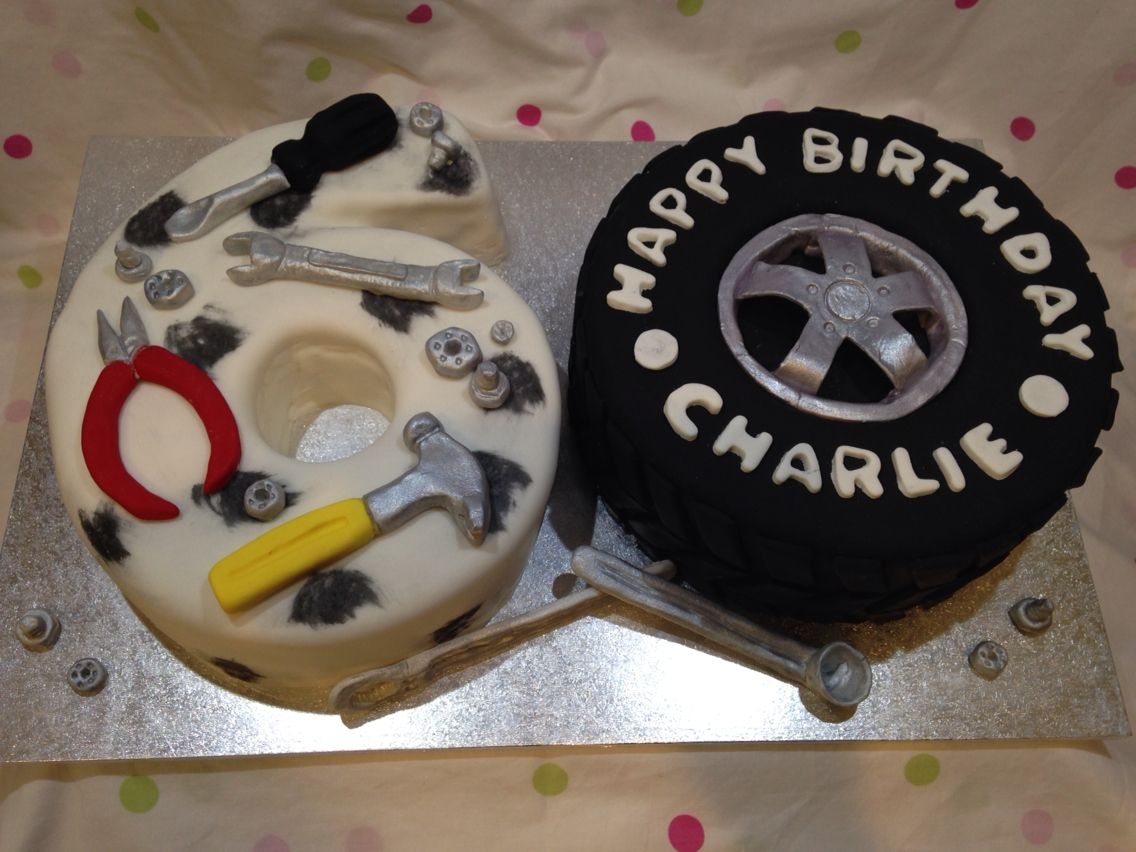 60th birthday mechanic cake-tools and tyre | cakes | Dad birthday ...