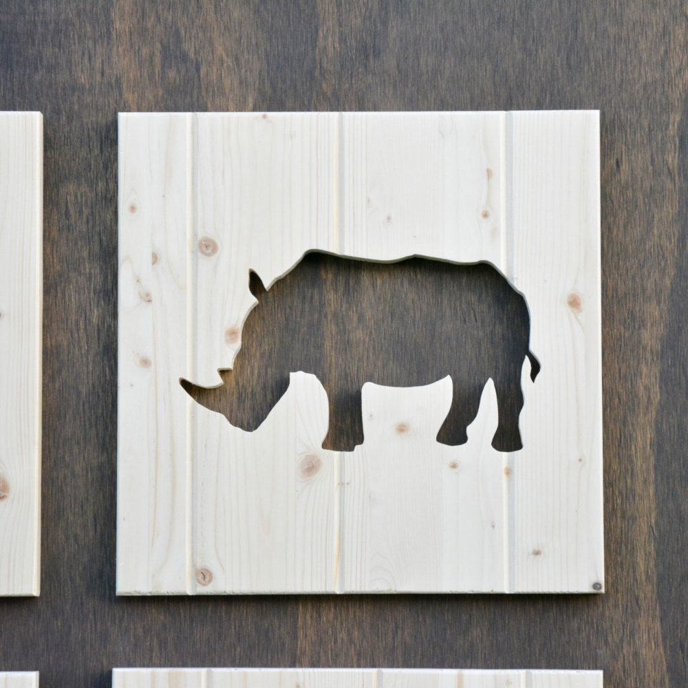Rhino Wood Silhouette Safari Animal Cutout By SkipToothCreations On Etsy