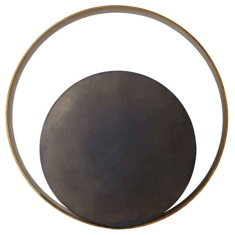 Stunning Circle Wall Lamp in Brass and Nickel | 1stdibs.com