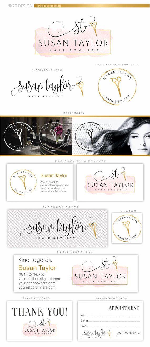 Hairdresser Logo Design Hair Salon Branding Scissors Initials