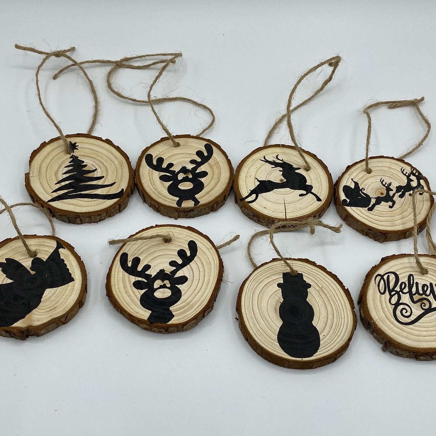 Hand Painted Wood Christmas Tree Ornaments Etsy Wood Christmas Tree Wood Christmas Ornaments Hand Painted Wood