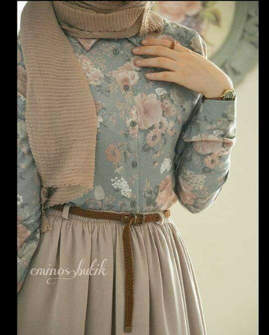 Simple Vintage Hijab Muslim Fashion Outfits Clothes For Women Hijab Fashion