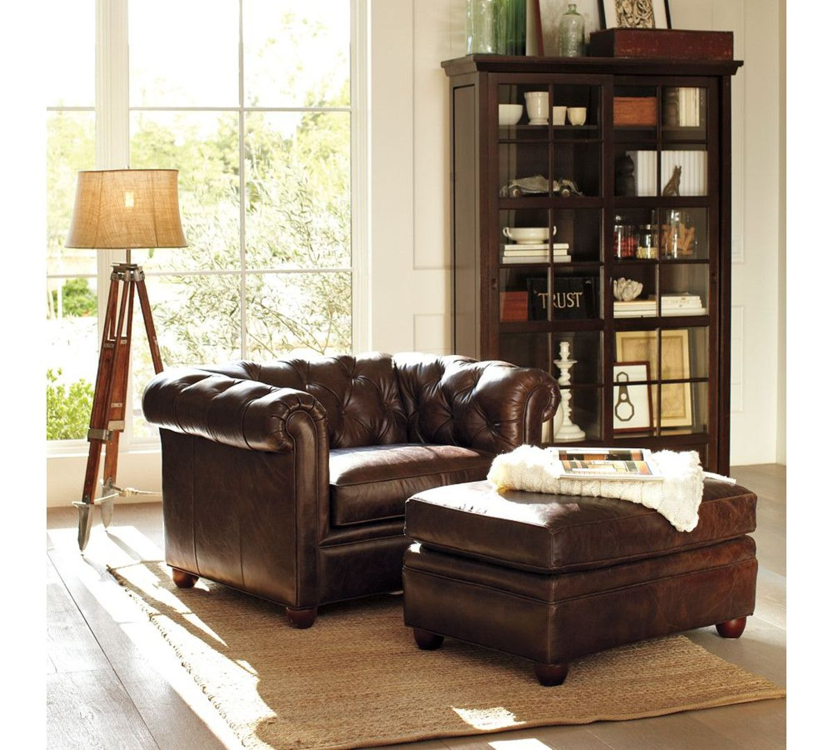 Chesterfield Leather Ottoman Pottery Barn Leather
