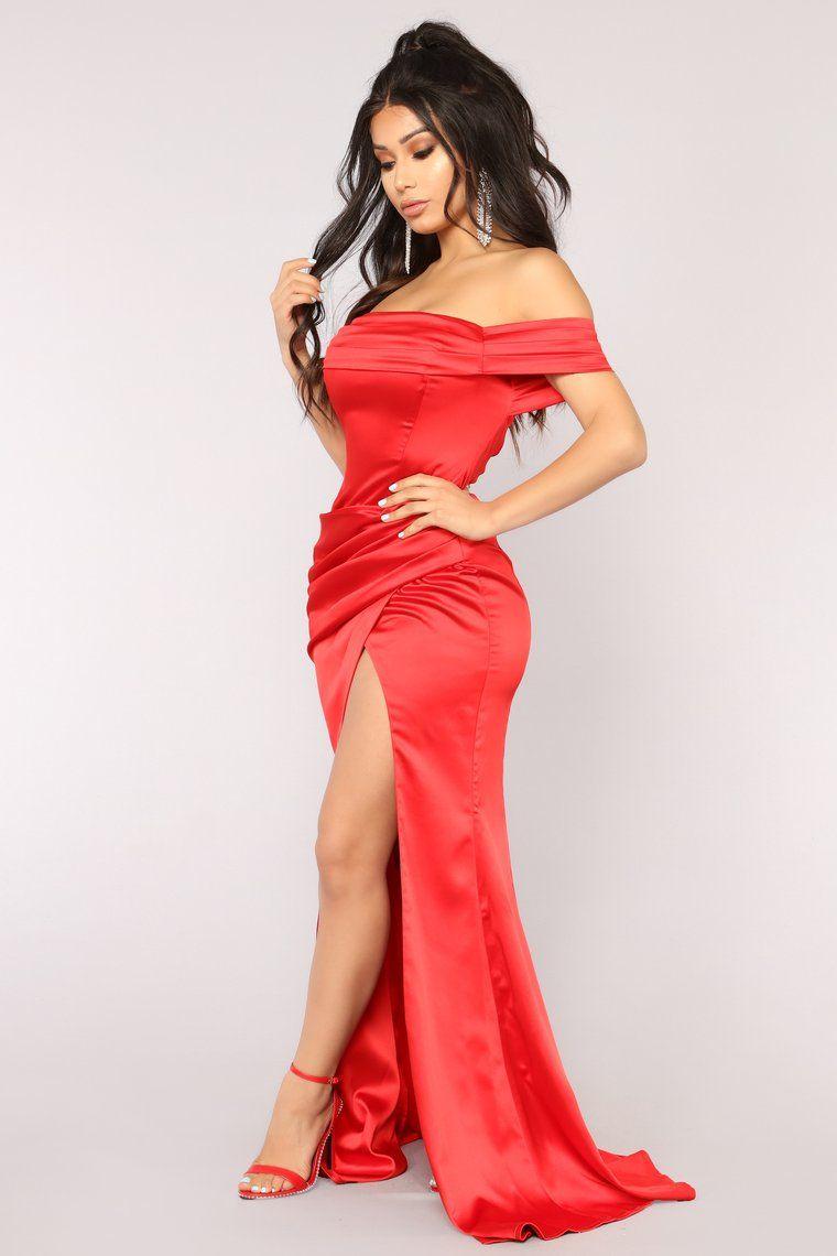 Tiara Satin Dress Red in 2020 Satin dresses, Fashion
