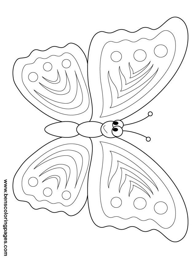 Printable Insects Happy Butterfly Coloring Sheet For KidsButterfly Preschoolfree Print Out Online