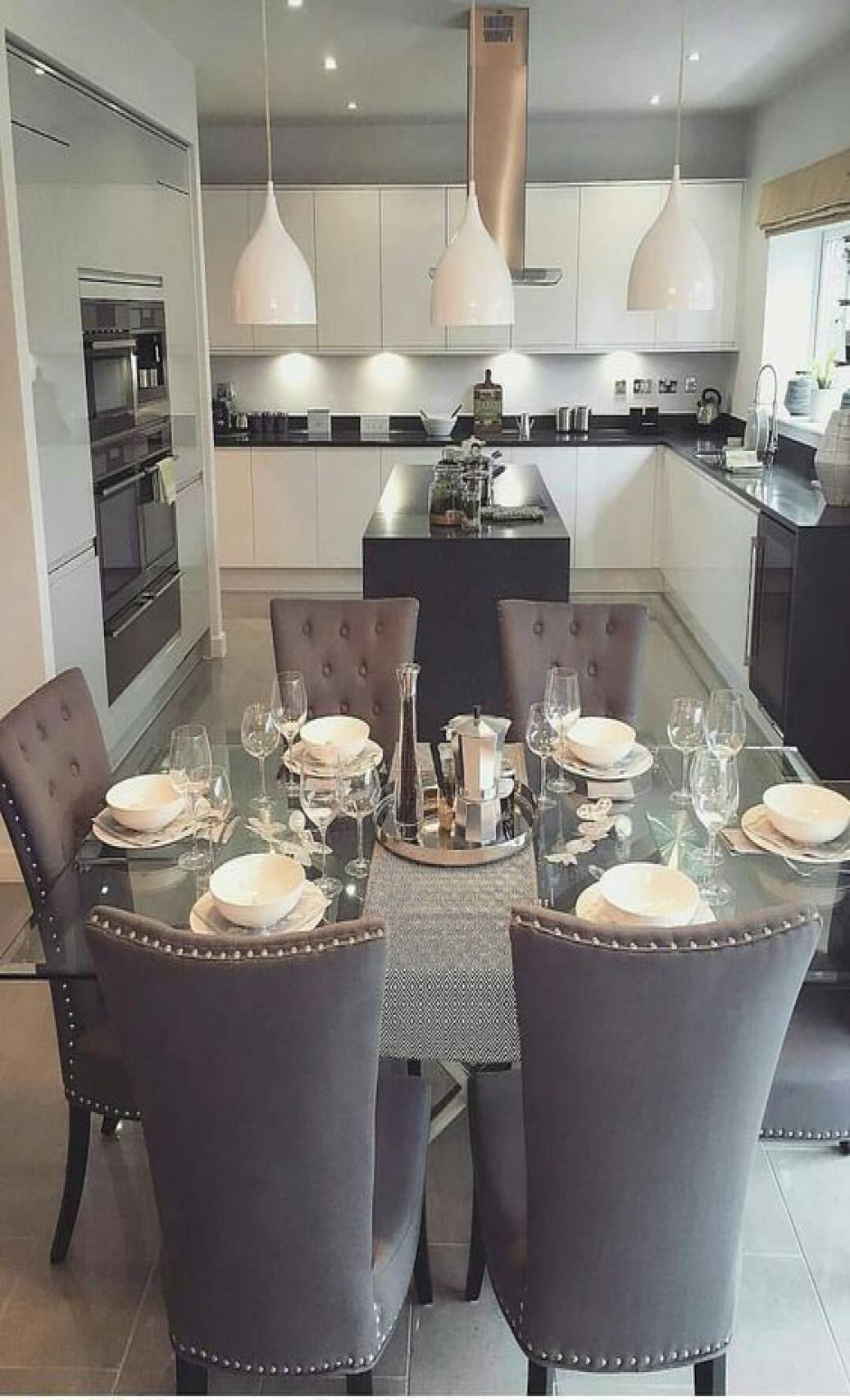 46 Chic Modern Farmhouse Kitchen Decor Ideas Dining Table Decor Home Decor Kitchen Luxury Dining Room