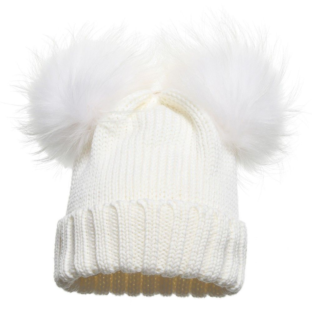 dcdcc3569 Girls White Wool Knitted Hat with Fur Pom Poms, Regina, Girl ...