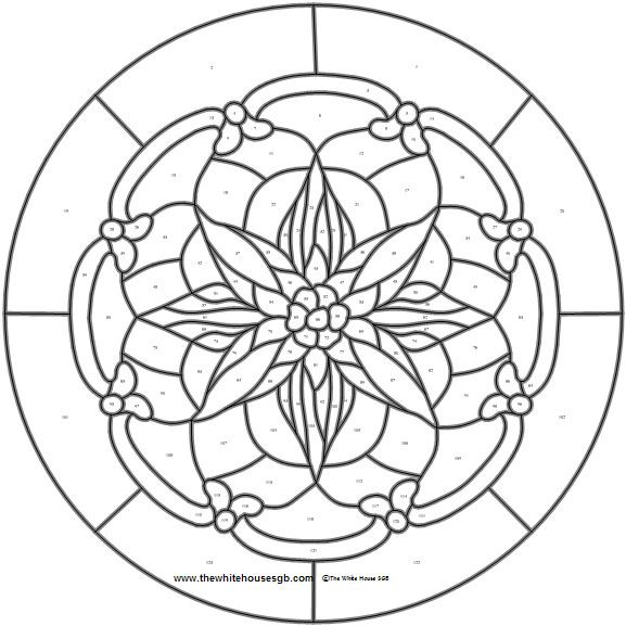 Stylized Christmas Pointsetta Pattern From The White House Tree Stained Glass Coloring Page