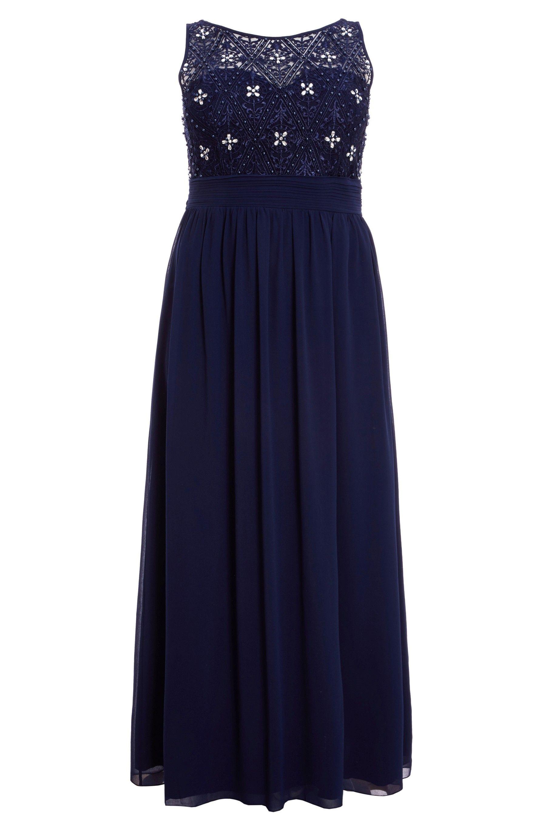 ed597a283aa87 Womens Quiz Curve Chiffon Embellished High Neck Sweetheart Maxi Dress - Blue
