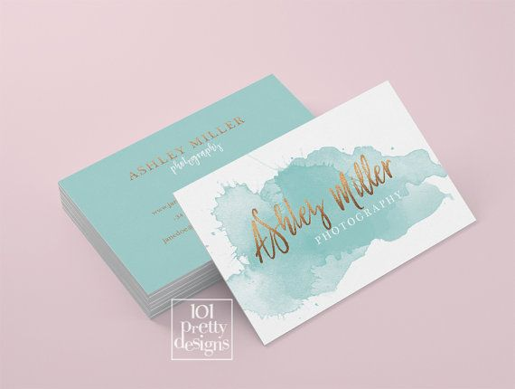 Watercolor Business Card Template Rose Gold Printable