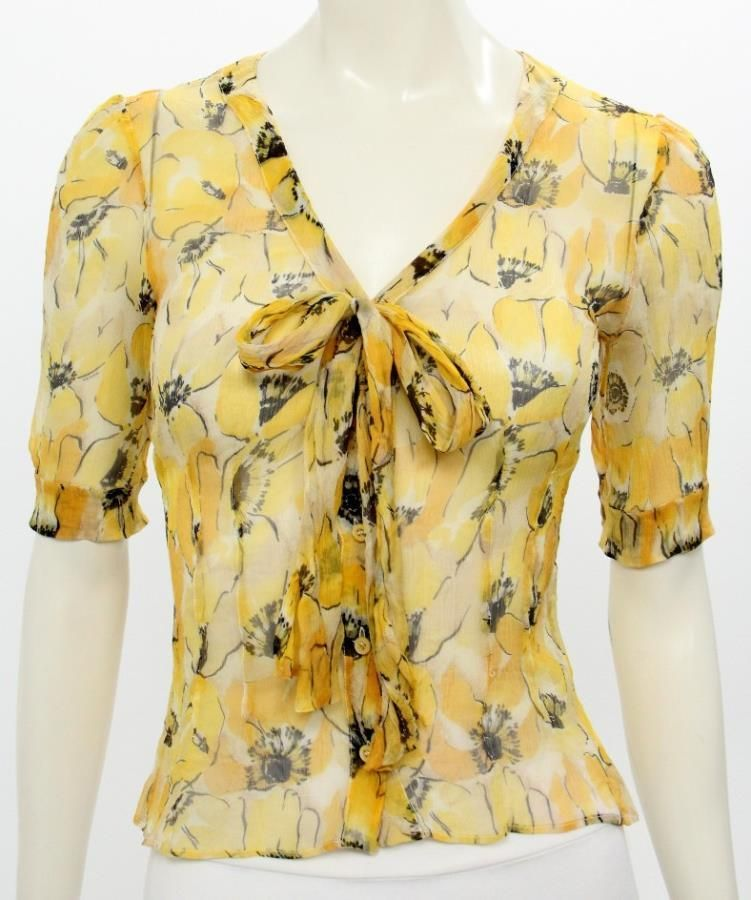 9f9fb8cabf593a Prada Yellow   Black Silk Floral Print Sheer Button Up Blouse Size 40  Prada   Blouse