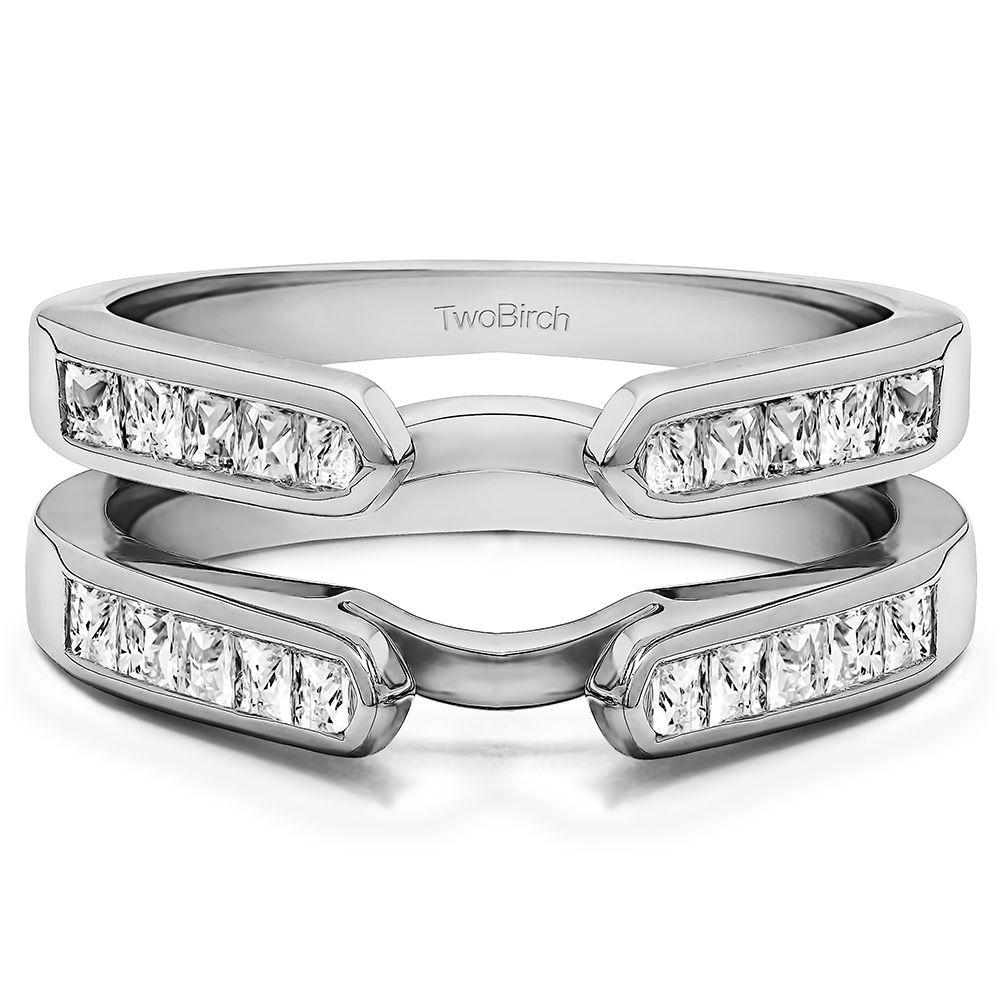 Channel Set Princess Cut Ring Guard Enhancer set in Solid 10 Karat