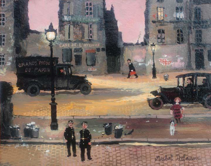 "Michel Delacroix : Avenue de Flandre la nuit, 2012 // Acrylic On Board, 7½"" x 9½"""