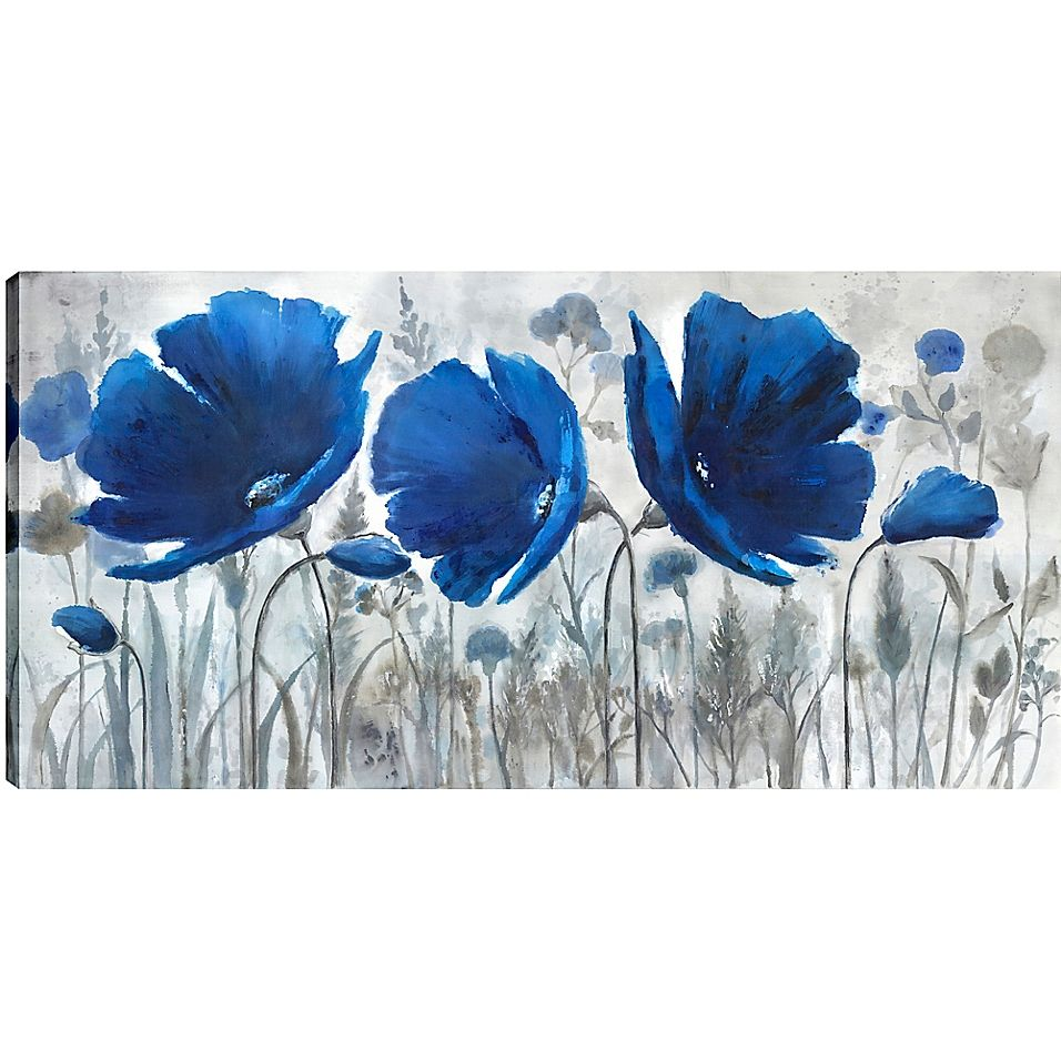 Blue Florals 30 Inch X 60 Inch Canvas Wall Art In 2020 Canvas Art Wall Decor Art Abstract Poppies