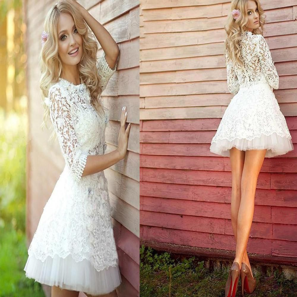 popular long sleeve lace see through cute homecoming prom dress