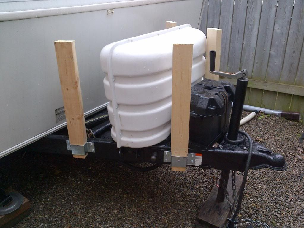 Net Open Roads Forum Hybrid Travel Trailers Show Your Mods These Brackets Are A Great Idea To Frame Up Cabinet Over The Propane Tanks