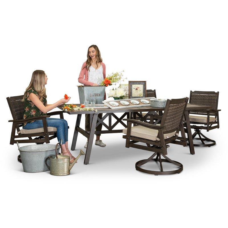 Ash Gray Swivel Chairs Patio Dining Set Glenwood Patio Dining Set Patio Chairs Patio Dining