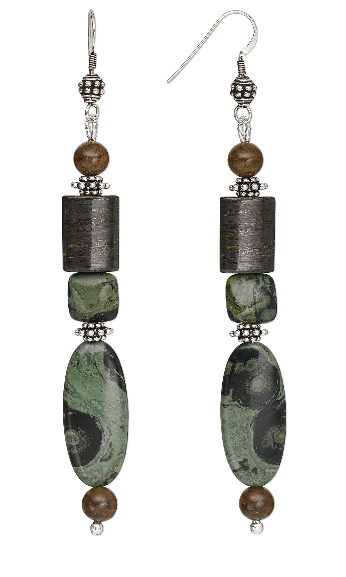 Jewelry Design - Earrings with Kambaba Jasper and Tiger Iron ...
