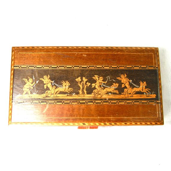 Antique Edwardian Sorrento Ware Box for Playing Cards Putti Cherubs in Chariots Pulled by Goats Inlaid Wood Penwork Italian Italy Circa 1915